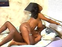 Sexy ebony gets off on leather sofa